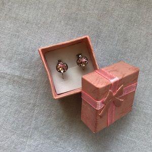 Pink Swarovski Elements Earrings in Box